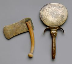 Bronze & Wood Shaving Razor & Mirror  --  Circa 1479-73 BCE  --  From the tomb of Hatnofer & Ramose  --  Western Thebes  --  Heilbrunn Timeline of Art History @ The Metropolitan Museum of Art