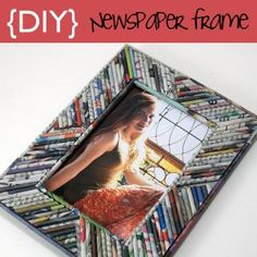 "more crafts to use up the stack of magazine that you just cant seem to toss out! Picture Frame From Rolled Newspaper ""Reeds"""