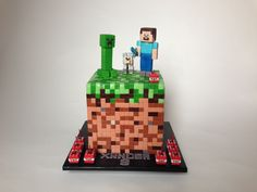 Minecraft cake for Xander, turning 8 years old. Chocolate cake...