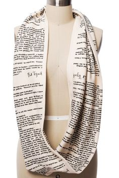 "Hey, old sport, have you seen this scarf featuring text straight from F. Scott Fitzgerald's magnum opus The Great Gatsby? This luxurious piece is sure to catch the eye of that certain someone for whom you've been throwing all those decadent parties. What are you waiting for?  The Great Gatsby Book Scarf is HANDMADE from cream, American-made, 100% cotton jersey knit.  Fabric has been doubled over and sewn along the edge and at the center to create a thick, chunky, and moldable ""page."""