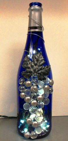 Silver and Cobalt Blue Wine Bottle Light Night Light by booklooks, $22.00