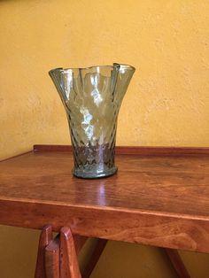 Mid Century Modern Vase MCM Art Glass Vase Smokey Green