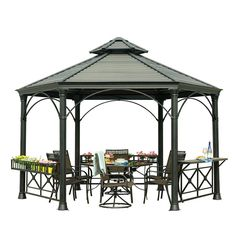Sunjoy Holden 13.75 ft. x 12 ft. Black Hard Top Gazebo