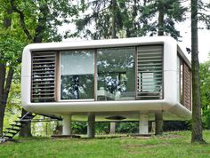 The LoftCube is prefabricated, which saves energy and material use, and it's designed to have a minimal footprint.