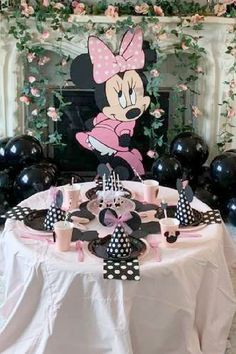 Take a look at this sweet Minnie Mouse birthday party! The table settings are so pretty!! See more party ideas and share yours at CatchMyParty.com #catchmyparty #partyideas #minniemouse #minniemouseparty #girlbirthdayparty #tablesettings Minnie Mouse Table, Minnie Mouse Party, Mouse Photos, Mouse Cake, For Your Party, Photo Galleries, Centerpieces, Place Cards, Birthdays
