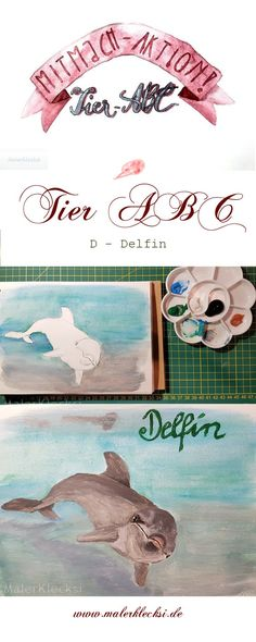 Weiter gest es mit dem D - Delfin. Viel Spaß bei meiner Mitmach-Aktion dem Tier-ABC Tier Abc, Delphine, Movie Posters, Art, Hands On Activities, Letter D, To Draw, Film Poster, Popcorn Posters