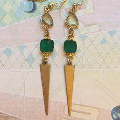 Green Druzy and gemstone earrings Long green gemstone boho earrings by sparkazilla on etsy www.etsy.com/shop/sparkazilla