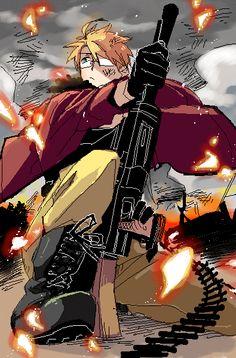 るんこ- Hetalia - America (Alfred F. Jones) He's not violent, just creative with weapons.