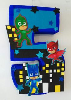 PJ Mask themed pinata. Pj mask number pinata. Pj by aldimyshop