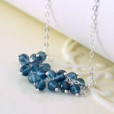 London Blue Topaz Necklace Genuine AAA Gemstone by livjewellery, $135.00