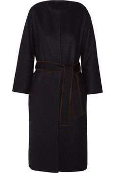 The Row - Duna Belted Suede-trimmed Felted Wool-blend Coat - Navy -