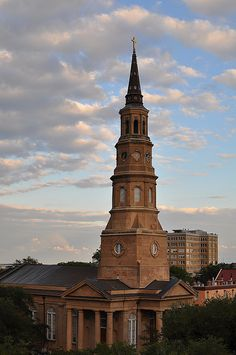 Standing on the top of the parking garage at Cumberland and Church Streets, you get a gorgeous view of St. Philips Church Charleston, SC.