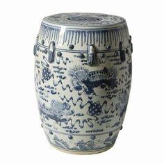 Blue Amp White Qing Dynasty Ceramic Garden Stool Blue