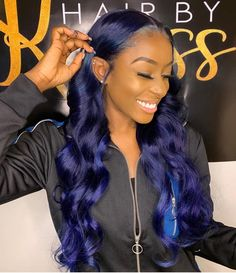 Blue Wigs Lace Frontal Hair Pink Ombre Wig Dark Blonde Wig Middle Part – xxshoop Blue Hair Black Girl, Dark Blue Hair, Blue Wig, Dark Blonde, Hair Color For Dark Skin, Cool Hair Color, Hair Colors, Frontal Hairstyles, Braided Hairstyles
