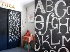 DIY Chalkboard on the sliding closet doors. Adds a fun, whimsical feel to the space, without committing to an entire wall.