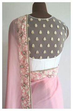 It's here Modern Sari Blouse Click Visit link for more info - Saree Blouses Blouse Back Neck Designs, Netted Blouse Designs, Blouse Designs Catalogue, Net Blouses, Chiffon Blouses, Stylish Blouse Design, Choli Designs, Dress Designs, Indian Designer Wear