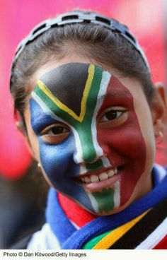 South African flag - the face of a nation. We Are The World, People Of The World, Happy People, My People, South African Flag, Africa Flag, Flag Face, Face Painting Designs, First World