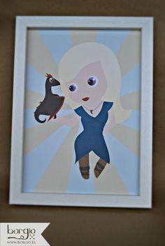 Hija de la Tormenta. Ilustración inspirada por el personaje Daenerys de la saga Canción de Hielo y Fuego. Disponible en http://www.borgio.es/producto/hija-de-la-tormenta/