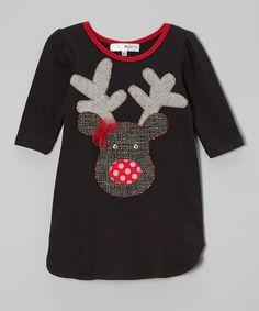 Take a look at this Black Reindeer Dress - Toddler & Girls by little bits on #zulily today! $28 !!