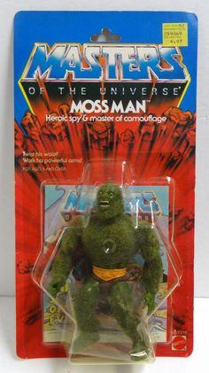 """Moss Man, the fuzzy """"heroic spy & master of camouflage,"""" still on his blister card. From the """"Masters of the Universe"""" line of toys."""
