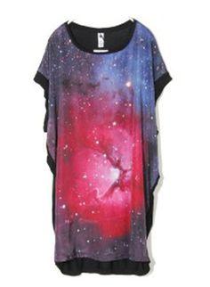 #SheInside Galaxy Print Round Neck Short Dolman Sleeve Long T Shirt