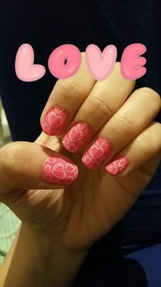 Perfect flirty nails #hearts #pink #nailart #shortnails #cute #design #perfectforadate ♡