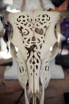 carved bull skull