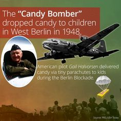 I learned something cool on the @curiositydotcom app: Who Was The Berlin Candy Bomber Of 1948?