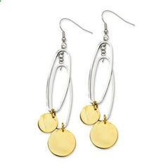 Women's Two Tone Gold Stainless Steel Oval Circle Dangle Earrings Gemologica.com offers a unique and simple selection of handmade fashion and fine jewelry for men, woman and children to make a statement. We offer earrings, bracelets, necklaces, pendants, rings and accessories with gemstones, diamonds and birthstones available in Sterling Silver, 10K, 14K and 18K yellow, rose and white gold, titanium and silver metal. Shop Gemologica jewellery now for cool cute design ideas: gemologica....