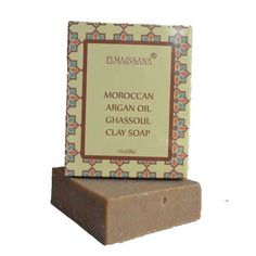 """ELMA® Argan Oil Ghassoul clay Soap-4.5oz/127gr by ELMA $6.99. for face and body, all skin types and hair types.. made with organic and natural ingredients.. with Organic argan oil and Moroccan Ghassoul lava clay. No artificial coloring, No artificial fragrances. 100% vegan. Handmade Argan Oil Ghassoul clay  Soap :  4.5oz- one bar Natural beauty soap with Argan Oil and Ghassoul clay.  The word """"Ghassoul"""" means """"to cleanse away"""" .   You get all of the benefits ..."""