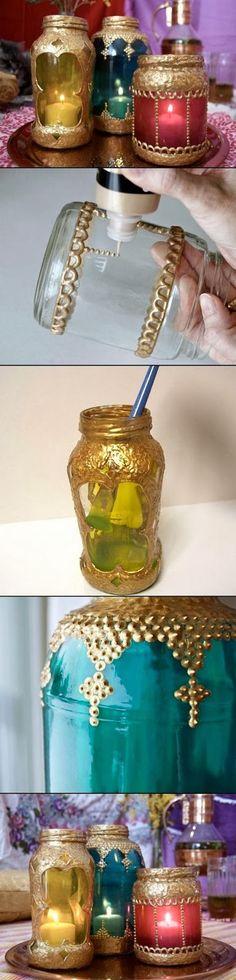 DIY IYD IDY DYI YDI: DIY PROJECT:GLASS-JAR MOROCCAN LANTERNS