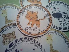 Personalized Jungle Animal Babies Theme 3 by PartyCelebrations, $5.50