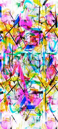 Digitally Printed Abstract/ Graffiti Multicoloured Silk Headscarf: