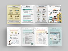 KEI LIBRARY GUIDE 리플렛 Book Design Layout, Book Cover Design, Page Design, Pamphlet Design, Leaflet Design, Editorial Layout, Editorial Design, Index Design, Infographic Resume