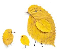 leaf crafts We love these sweet little leaf birds. Any color leaf will do! Autumn Leaves Craft, Autumn Crafts, Fall Crafts For Kids, Autumn Art, Nature Crafts, Art For Kids, Leaf Projects, Art Projects, Leaf Crafts