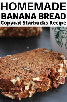 Banana Bread, this is an easy copycat Starbucks recipe that reminds me of the banana nut quick bread my mom used to make. It is so moist and filled with just the right amount of chopped nuts. These could easily be made as muffins too. Nut Bread Recipe, Easy Bread Recipes, Banana Bread Recipes, Quick Bread, Yummy Recipes, Keto Recipes, Dinner Recipes, Banana Walnut Muffins Easy, Banana Bread Muffins