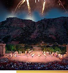 THE BEAUTIFUL PIONEER AMPHITHEATRE, carved out of and nestled into a natural basin in the majestic Palo Duro Canyon- comes alive in the summertime.  It's a local favorite and a favorite of visitors.  The back drop is gorgeous!