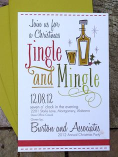 25 Christmas party invitation - Jingle and Mingle. $50.00, via Etsy.
