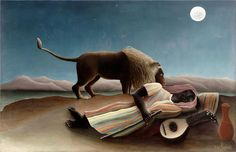 henri julien félix rousseau(henri (le douanier) rousseau, 1844–1910), the sleeping gypsy, 1897. oil on canvas, 129.5 x 200.7 cm. the museum of modern art, new york, gift of mrs. simon guggenheim http://www.moma.org/collection/object.php?object_id=80172