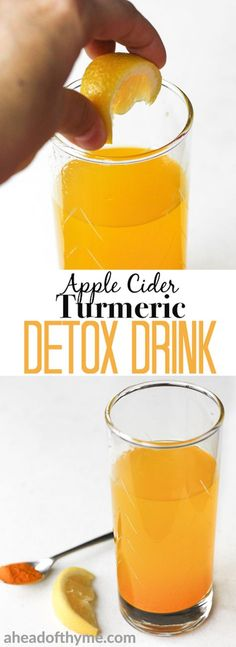 Start your mornings right with this easy-to-make, apple cider turmeric detox drink bursting with incredible health benefits.   aheadofthyme.com