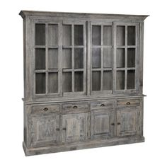 Lend a touch of rustic appeal to the dining room or den with this lovely pine wood display cabinet, showcasing a lime wash brown finish. ...