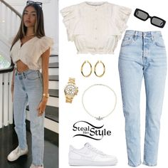 Madison Beer Clothes & Outfits   Steal Her Style Madison Beer Style, Madison Beer Outfits, Celebrity Outfits, Celebrity Style, Bella Hadid Outfits, Future Fashion, Casual Summer Outfits, Jeans Style, Her Style