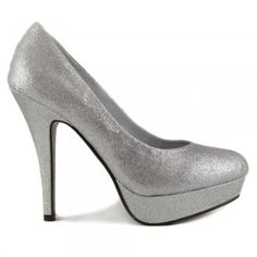 This silver high heel shoe is screaming glamour, perfect for a party or special occasion.
