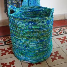 laundry hamper made from upcycled plastic bags.