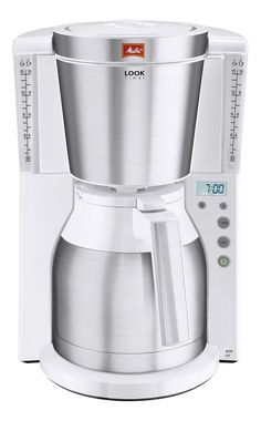 From Melitta Look IV Timer Filter Coffee Machine with Glass Jug Timer and Programmable Warmer Aroma Selector White/Brushed Steel Filter Coffee Machine, Drip Coffee Maker, Coffee Cups, Russel Hobbs, Melitta Coffee Maker, Glass Jug, Expresso, Coffee Colour, The Selection