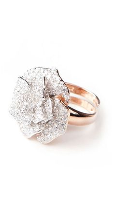Ornate Silver Cz Flower Ring by Adam Marc