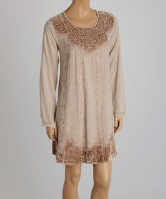 Fawn Velvet Embroidered Tunic by The OM Company #zulily #zulilyfinds