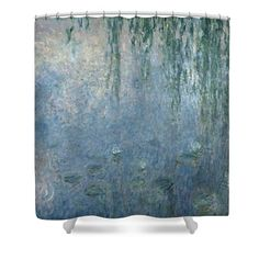 Landscapes Shower Curtains - Waterlilies Morning with Weeping Willows Shower Curtain by Claude Monet
