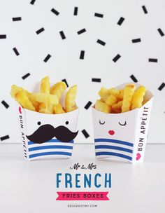Printable Mr & Mrs French Fries Boxes (Design is Yay) Fries Packaging, Food Packaging, Packaging Design, Paper Packaging, Printable Crafts, Templates Printable Free, Free Printables, Party Printables, Diy Paper