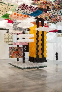 16) Sculpture with Repetitive Elements Jacob Hashimoto for Mary Boone Gallery 2014 paper kites variable sizes